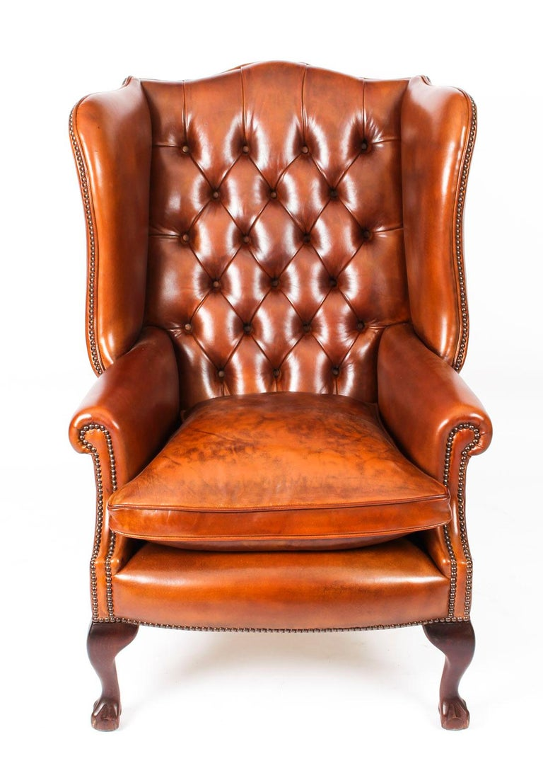 Bespoke Leather Chippendale Wing Back Chair Armchair Burnt ...