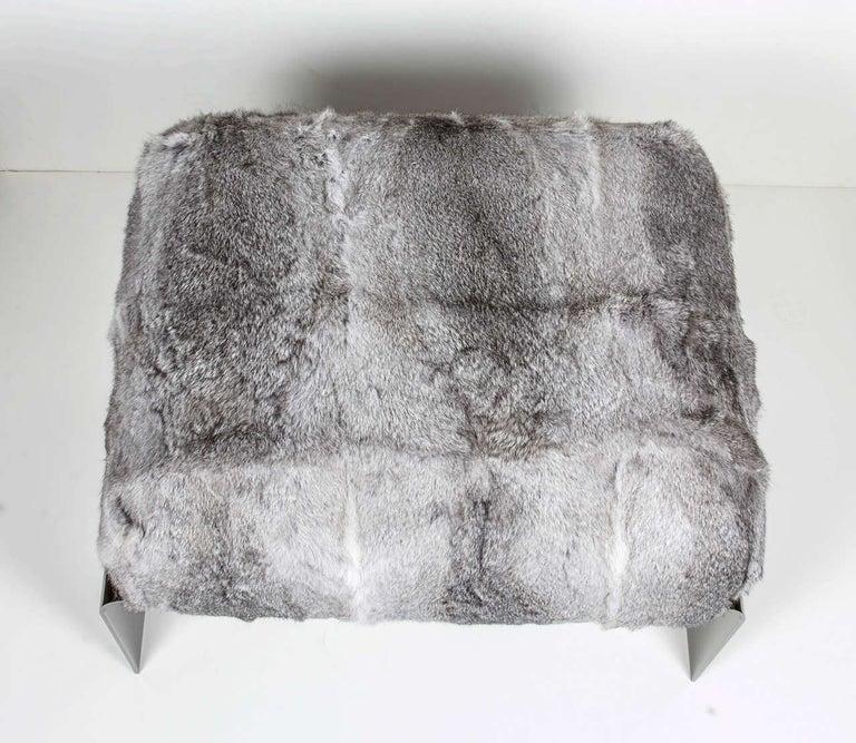 Organic Modern Bespoke Luxurious Lapin Fur Stool with Nickel Base For Sale