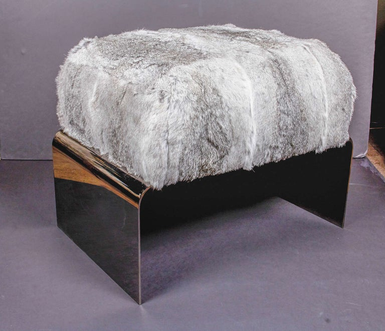 Bespoke Luxurious Lapin Fur Stool with Nickel Base In New Condition For Sale In Stamford, CT