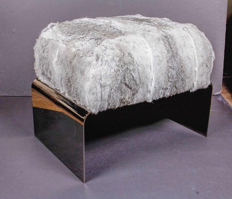 Bespoke Luxury Ottoman or Stool in Lapin Fur and Black Chrome For Sale 1