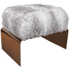Bespoke Luxury Ottoman or Stool in Lapin Fur and Black Chrome
