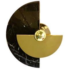 Bespoke Matlight Art Deco Style Half Moon Rotating Brass Sconce in Black Marble