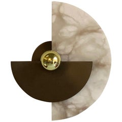 Bespoke Art Deco Style Half Moon Rotating Bronze Brass Sconce in Alabaster