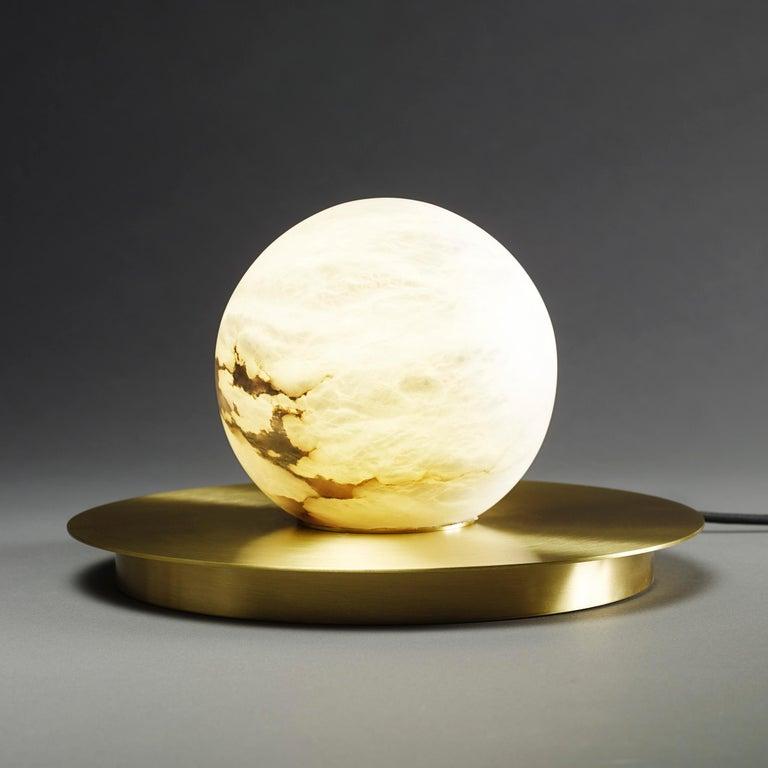 Organic Modern Bespoke Matlight Italian Alabaster Moon Minimalist Satin Brass Round Table Lamp For Sale