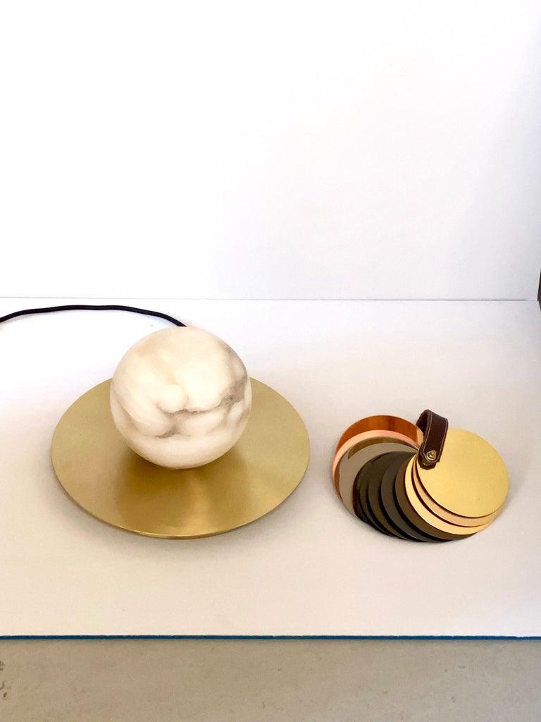 Hand-Crafted Bespoke Matlight Italian Alabaster Moon Minimalist Satin Brass Round Table Lamp For Sale