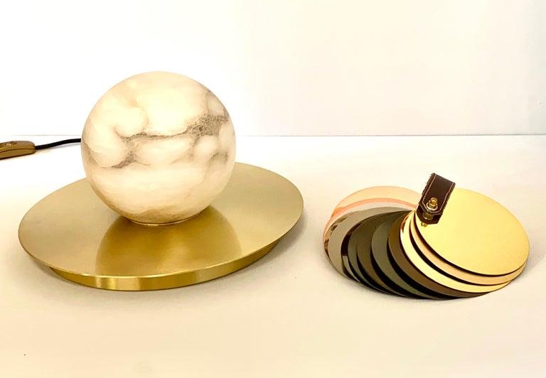 Contemporary Bespoke Matlight Italian Alabaster Moon Minimalist Satin Brass Round Table Lamp For Sale