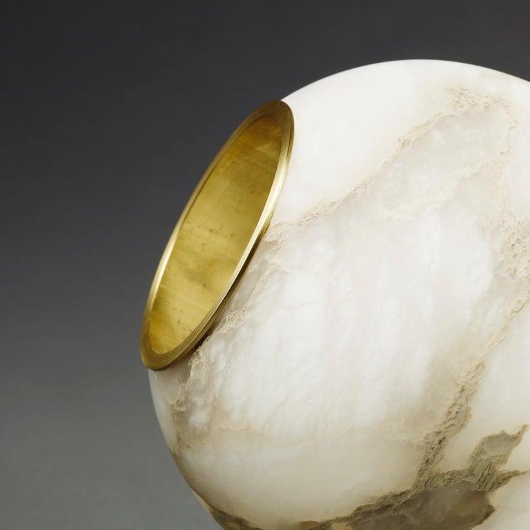 Bespoke Matlight Italian Alabaster Moon Minimalist Satin Brass Round Table Lamp For Sale 1