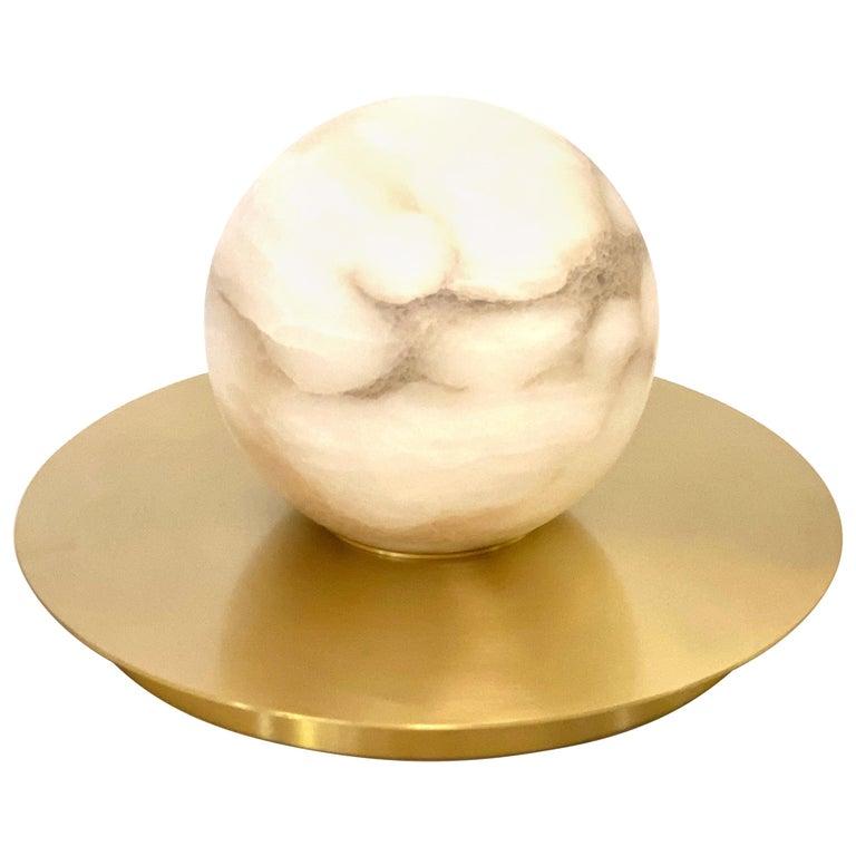 Bespoke Matlight Italian Alabaster Moon Minimalist Satin Brass Round Table Lamp For Sale