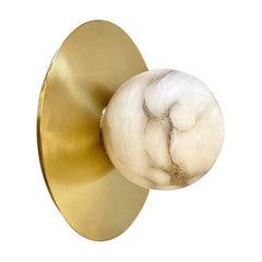 Bespoke Matlight Italian Alabaster Moon Minimalist Satin Brass Round Wall Light