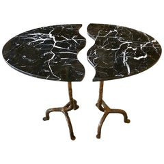 Bespoke Matlight Italian Cast Bronze & Marble Oval Side Table, Doubles as a Pair