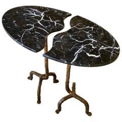 Bespoke Matlight Italian Cast Bronze & Marble Oval Side Table, Doubles as a Pair