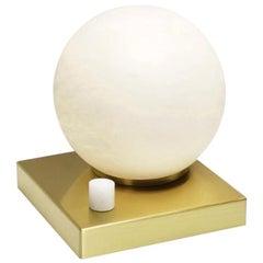 Bespoke Matlight Italian Minimalist Alabaster Moon Globe Satin Brass Square Lamp