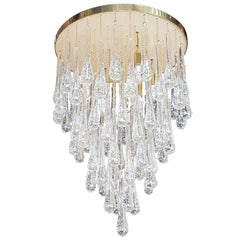Bespoke Midcentury Style Italian Flush Mount Brass and Murano Glass Chandelier