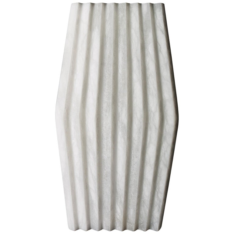 Bespoke Minimalist Italian Neoclassical White Alabaster Geometric Modern Sconce For Sale