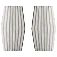 Bespoke Minimalist Italian Neoclassical White Alabaster Geometric Modern Sconce