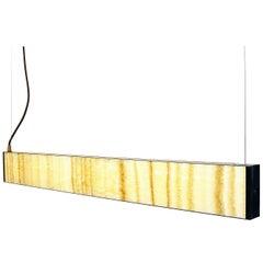 Bespoke Minimalist Italian Onyx Geometric Linear Satin Brass Pendant Chandelier