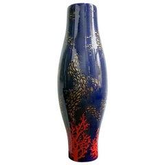 Bespoke Modern Italian Monumental Gold Red Blue Ceramic Vase with Ocean Decor