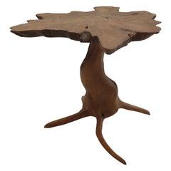 Bespoke Naturalistic Root Wood Teak Side Table, 20th Century, Organic,