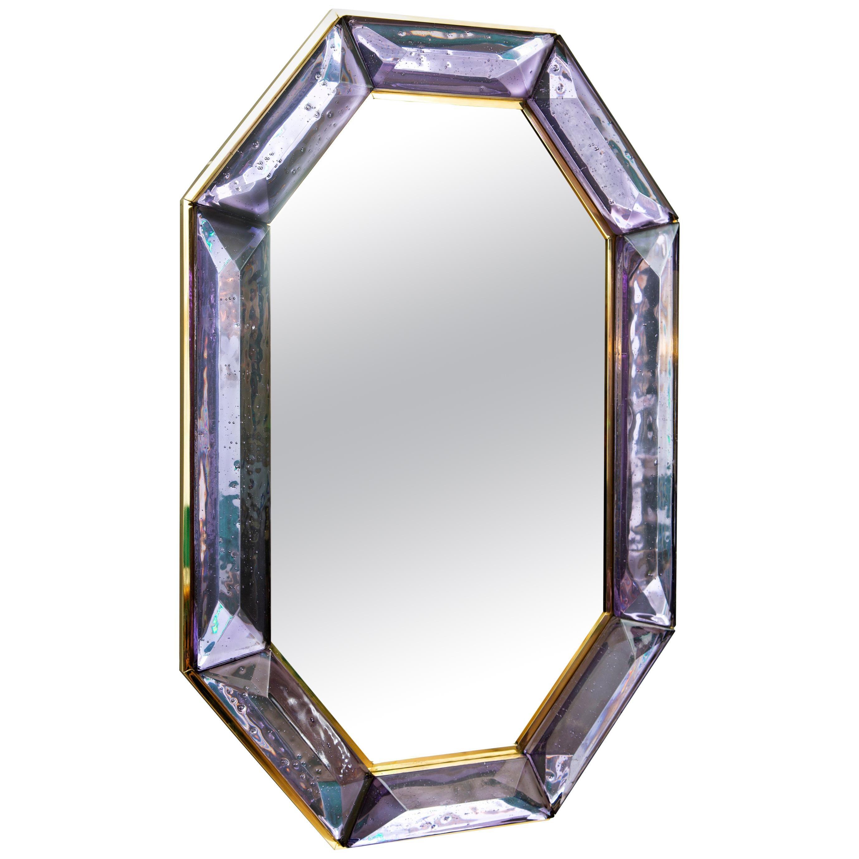 Bespoke Octagon Amethyst Murano Glass Mirror, in Stock