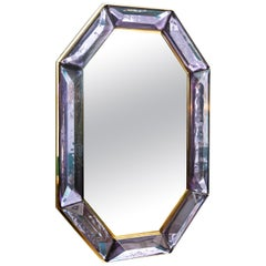 Bespoke Octagon Amethyst Murano Glass Mirror, in Stock