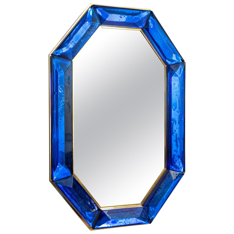 Bespoke Octagon Cobalt Blue Murano Glass Mirror, in Stock