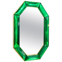 Bespoke Octagon Emerald Green Murano Glass Mirror, in Stock