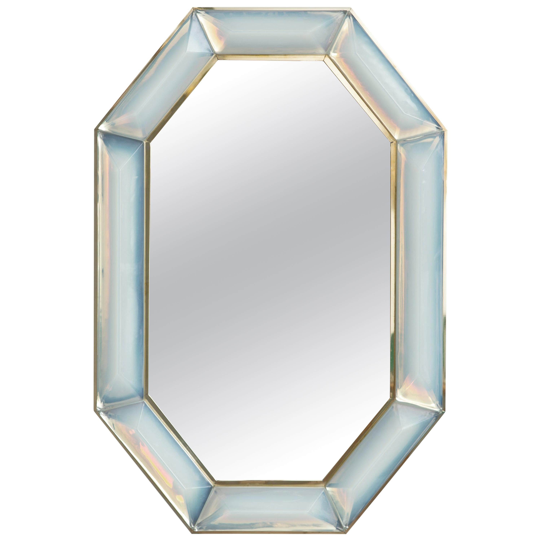 Bespoke Octagon Iridescent Opaline Murano Glass Mirror, in Stock