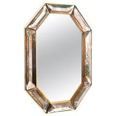 Bespoke Octagon Pink Murano Glass Mirror, in Stock
