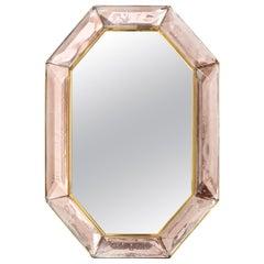 Bespoke Octagon Pink Murano Glass Mirror, in Stock