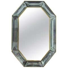 Bespoke Octagon Sea Green Murano Glass Mirror, in Stock
