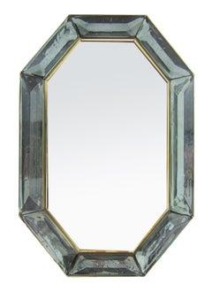 Bespoke Octagon Sea Green Murano Glass Mirror, in Stock