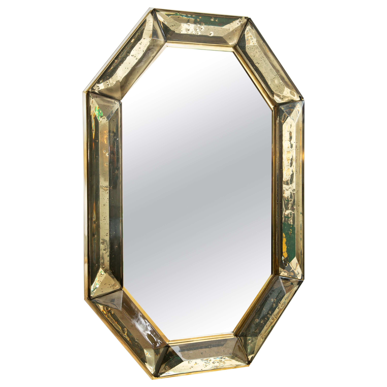 Bespoke Octagon Smoked Murano Glass Mirror, in Stock