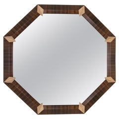 Bespoke Octagonal Mirror in Dark Eucalyptus and Smoked Brass