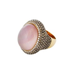 Bespoke One-of-a-Kind Cocktail Ring with Rose Quartz and Diamonds
