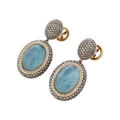 Bespoke One-of-a-Kind Luxury Drop Earrings with Aquamarine and Diamonds