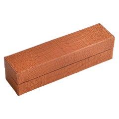 Bespoke Orange Alligator Backgamoon Chip Set Box