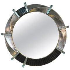Bespoke Organic Modern Italian Black Silver Aqua Murano Glass Brass Round Mirror