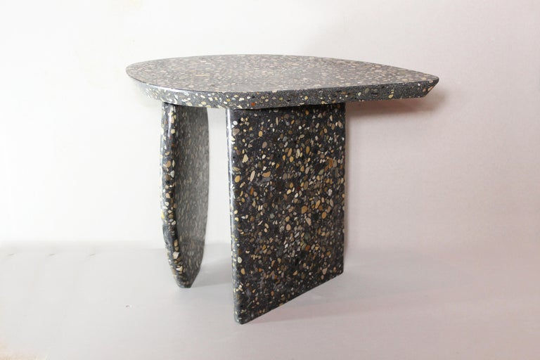 French Bespoke Organic Side Table Handmade in Granito Terrazzo Made in France For Sale
