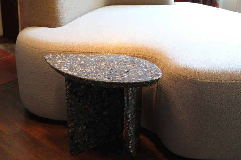 Hand-Crafted Bespoke Organic Side Table Handmade in Granito Terrazzo Made in France For Sale