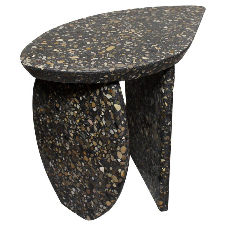 Bespoke Organic Side Table Handmade in Granito Terrazzo Made in France For Sale