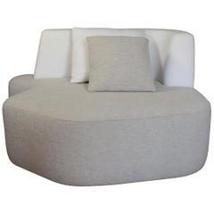 Bespoke Organic Sofa in White and Beige Wool Handmade by Eric Gizard in stock