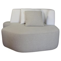 Bespoke Organic Sofa in White and Cream Wool Handmade in France Customizable