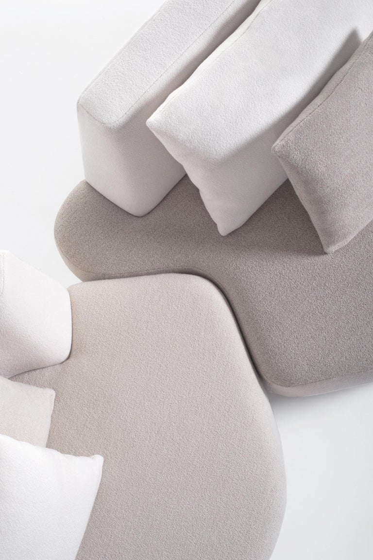 French Bespoke Organic Sofa in White, Cream, Brown Wool Handmade in France Customizable For Sale