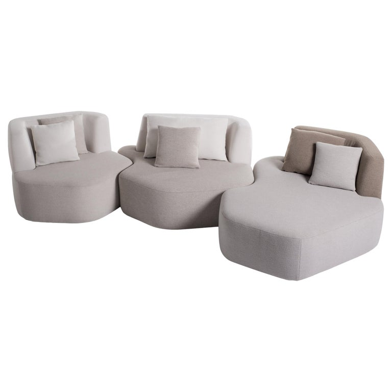 Bespoke Organic Sofa in White, Cream, Brown Wool Handmade in France Customizable For Sale