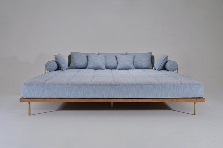 Mid-Century Modern Bespoke Outdoor Lounge Bed in Reclaimed Hardwood & Brass Frame by P. Tendercool For Sale