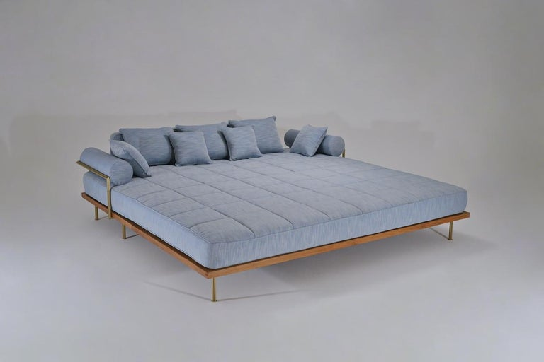 Thai Bespoke Outdoor Lounge Bed in Reclaimed Hardwood & Brass Frame by P. Tendercool For Sale