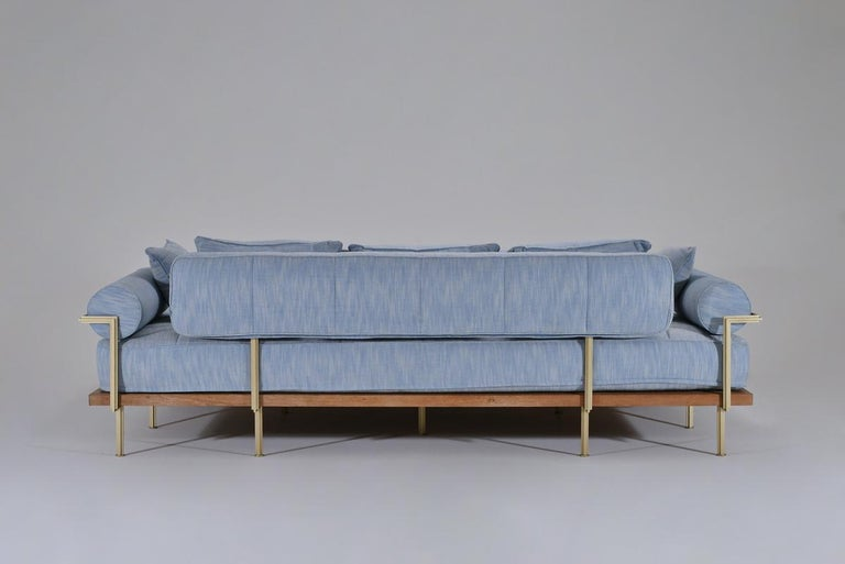 Bespoke Outdoor Lounge Bed in Reclaimed Hardwood & Brass Frame by P. Tendercool In New Condition For Sale In Bangkok, TH
