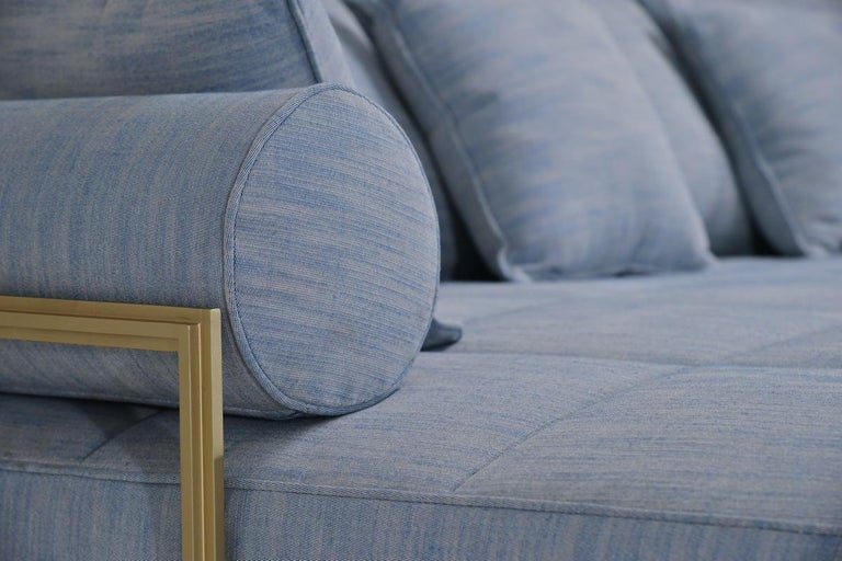Reclaimed Wood Bespoke Outdoor Lounge Bed in Reclaimed Hardwood & Brass Frame by P. Tendercool For Sale