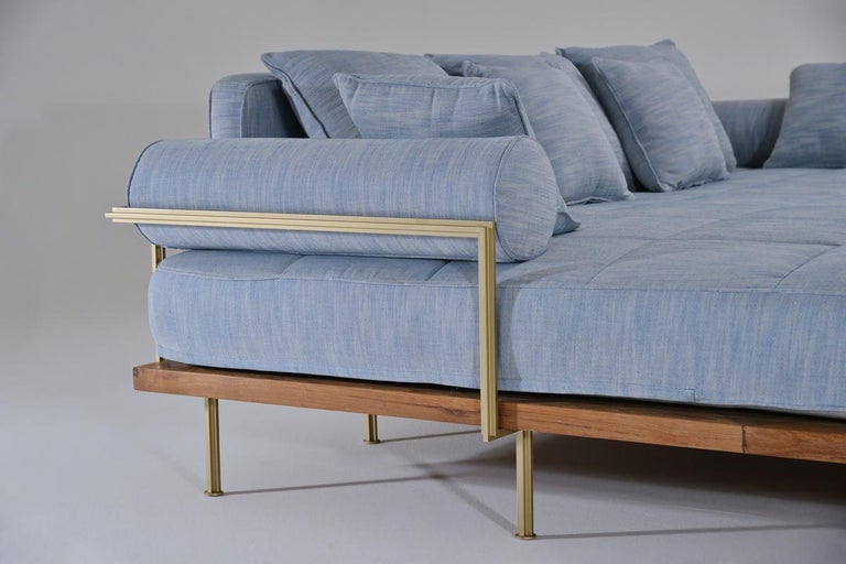 Bespoke Outdoor Lounge Bed in Reclaimed Hardwood & Brass Frame by P. Tendercool For Sale 1