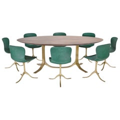 Bespoke Oval Table, Reclaimed Hardwood, Brown Brass Base, P. Tendercool In stock